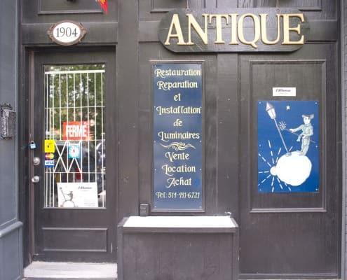 Antique stores along Rue Notre-Dame