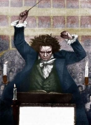Ludwig van Beethoven conducting with baton - by Katzaroff. German composer 17 December  1770- 26 March 1827