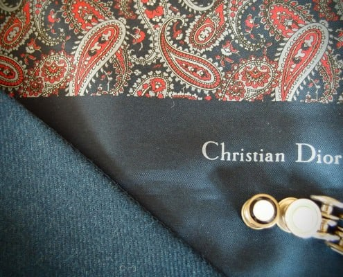 Double sided paisley scard by Dior with snap cuff links