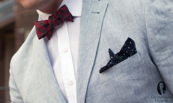 Gagliardi summer outfit with vintage bow tie, Fort Belvedere polka dot pocket sqaure and Siniscalchi summer shirt