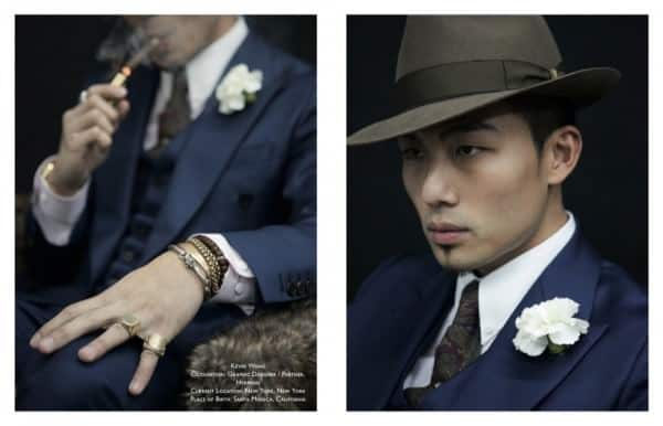 Kevin Wang  with boutonniere, 3 piece suit and snap brim hat