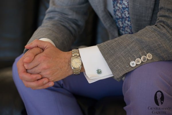 Rolex, Aquamarin cufflinks & mother of pearl buttons with lavendar herringbone pants