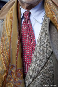 Bruce Boyer in tweed, printed tie, unbottened shirt collar and printed scarf by Rose Callahan