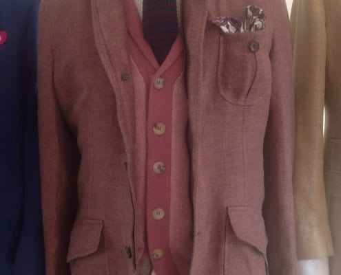 Cardigan, soft coat with patch pocket, knit tie, and dotted shirt