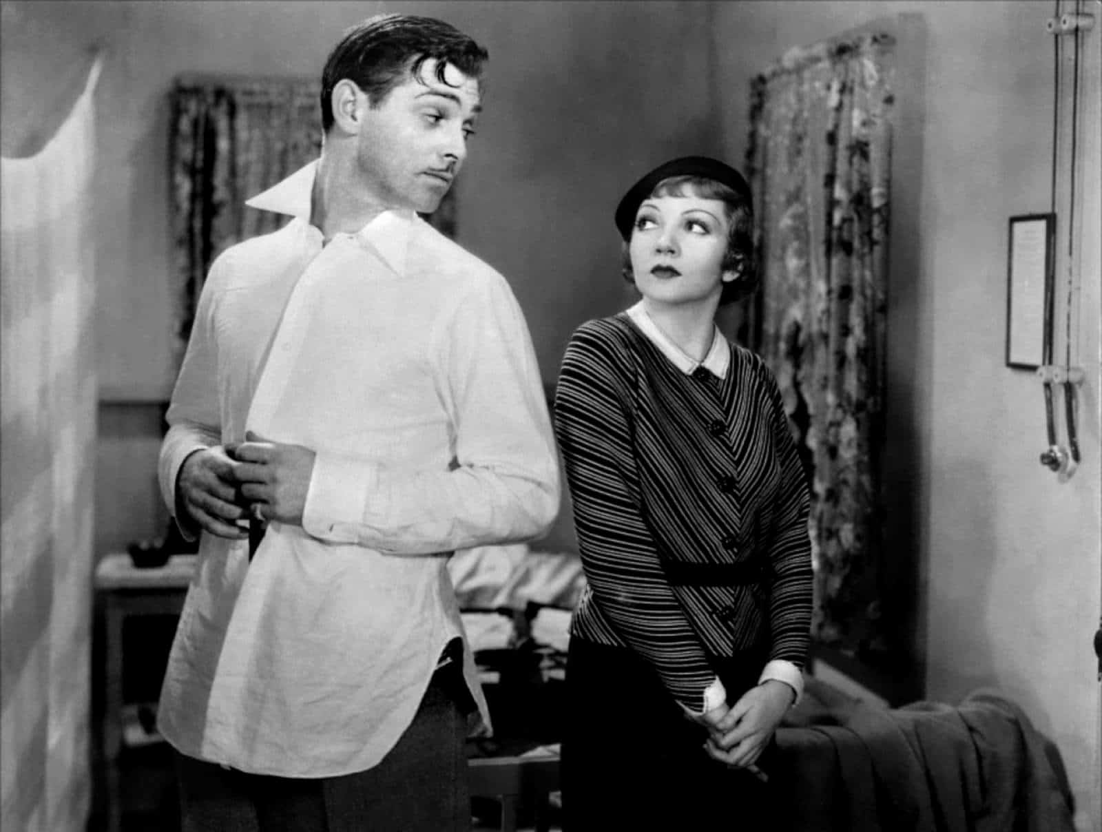 Clark Gable in It Happened One Night without and undershirt in 1934