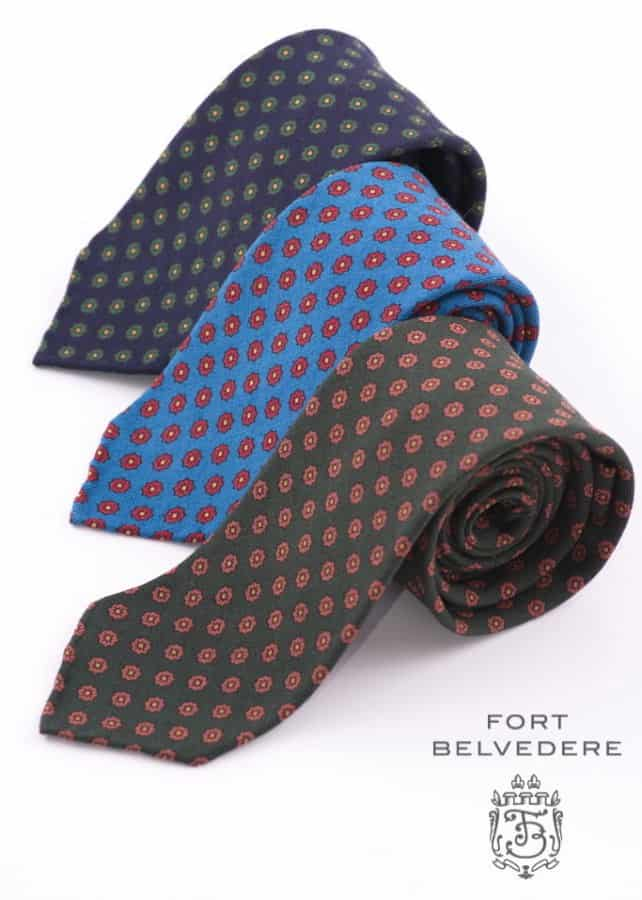 Hand printed & handrolled wool Challis ties by Fort Belvedere