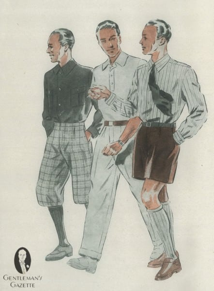 Knickerbocker trousers, and tie with long sleeved shirt & shorts