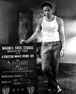 Marlon Brando in test shot for A Streetcar Named Desire wearing a sleeveless wife beater undershirt 1950