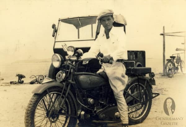 Rakish Yoshimi Yoshitsugu with Jodhpurs on one of the first motorcycles in Japan - 1930s