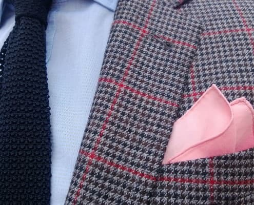 Summer shirt, navy silk knit tie by Fort Belvedere, houndstooth wool sportcoat by Indochino, pink cotton pocket square