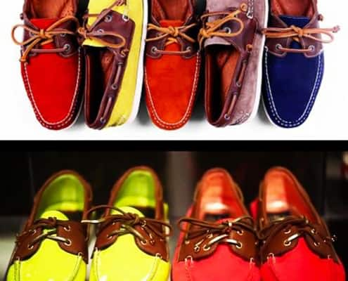 Two tone boat shoes