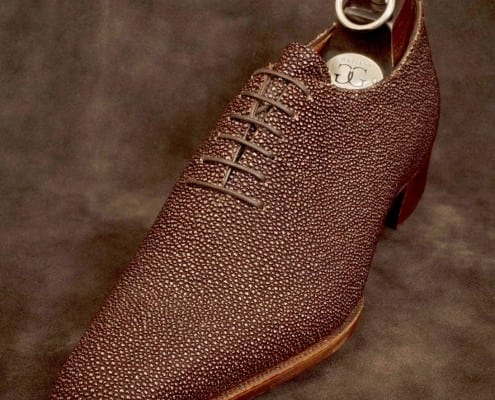 A bespoke stingray-skin shoe