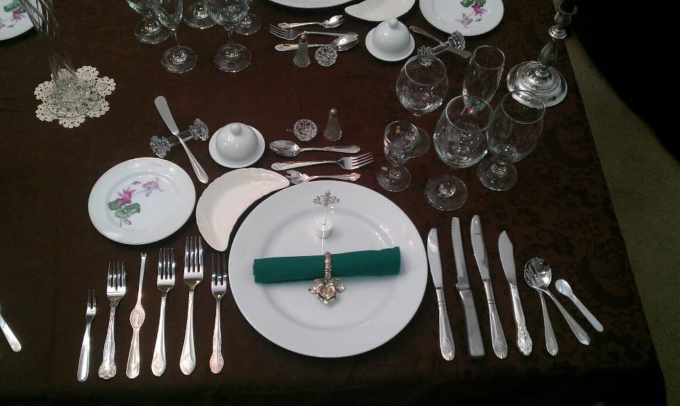 Formal Place Setting For 12 With Bone Dish To The Left Of Charger