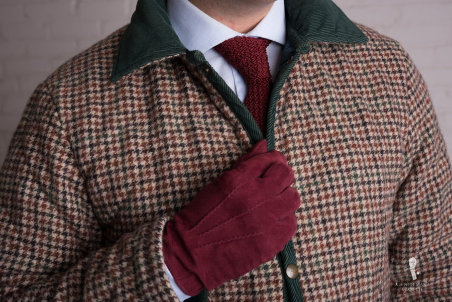 Quilted tweed jacket with burgundy suede gloves