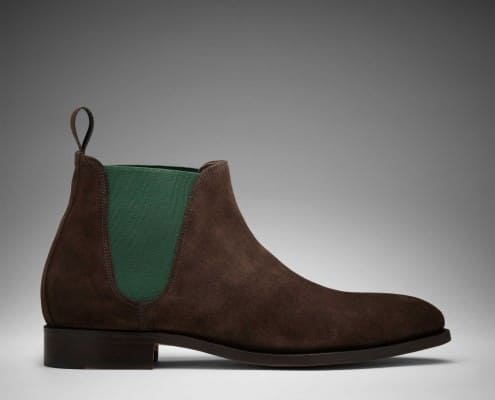 Scarosso Nevio Chelsea Boots with Green Elastics & Brown Suede