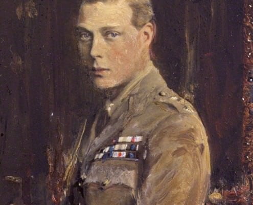 The Young Prince of Wales in Uniform by Reginald Grenville Eves, oil over photograph laid on board, circa 1920