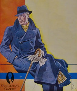 Ulters Overcoat, Grey Gloves, Cane, Checked scarf and matching lining