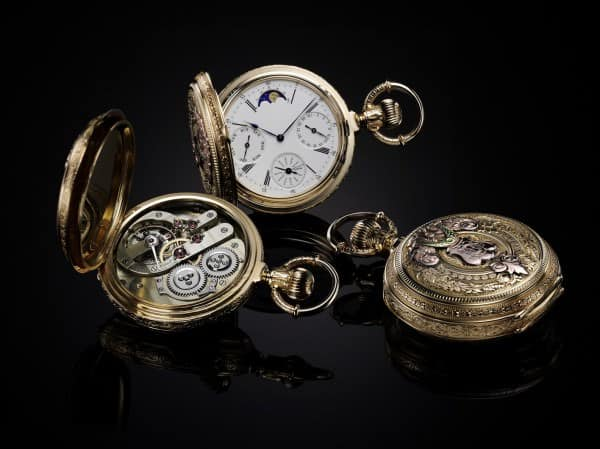 1870 Pocket watch with triple calendar and moon phases
