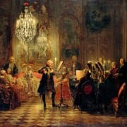 A court gathering to hear music