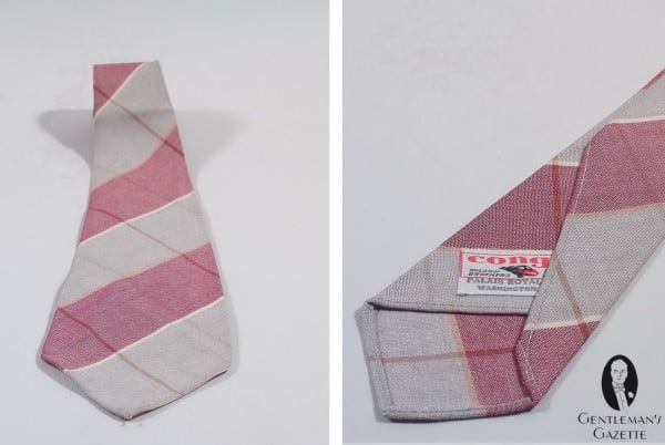 Cotton Tie in red, grey and beige