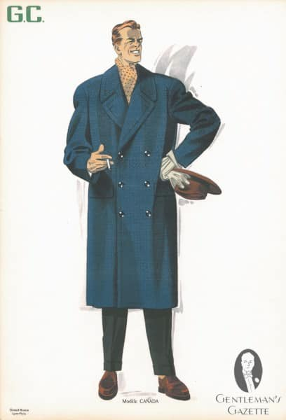 Double Breasted Overcoat in 50s Fabric
