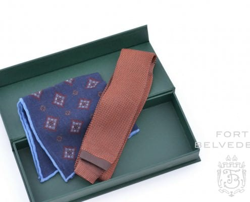 Fall Knit Tie & Pocket Square Silk - Wool Combination - Fort Blevedere