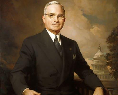 Harry Truman with black & white striped tie