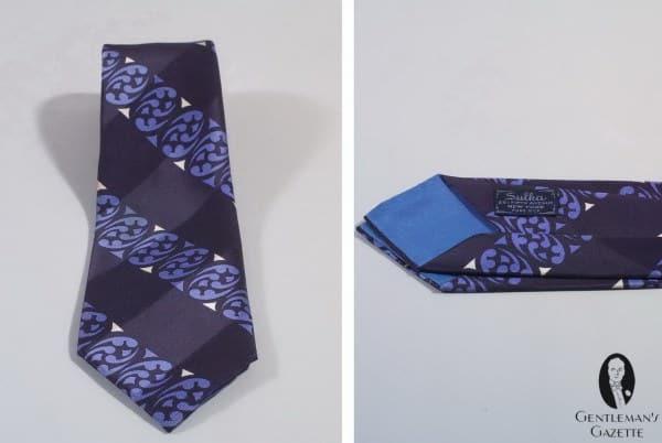 Navy & purple silk tie by A