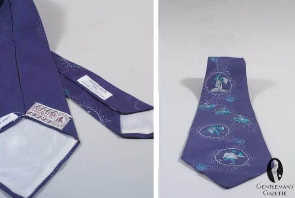 Purple Silk Foulard Tie with Figures custom made by Lenard Stern Chicago for Harry S