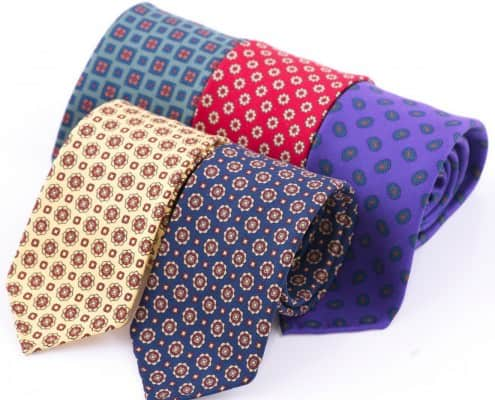Real Ancient Madder Silk Tie in Buff & Red Micropattern - Fort Belvedere 3