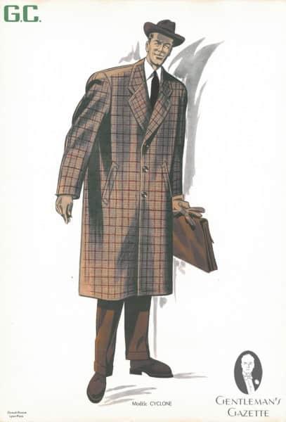 Red Windowpane check 50s overcoat