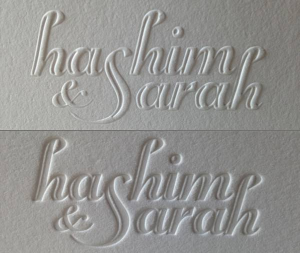 The difference between embossing (top) and debossing (bottom) from Dolce Press.