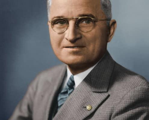 Truman in blue multi-stripe tie ca. 1940