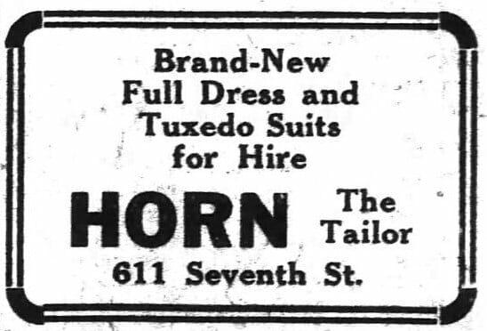 1919-01-09 Tuxedo Rental ad in the Washington Post Page 8