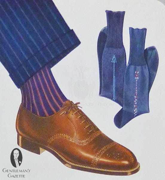 Brown half brogue shoe with shadow stripe socks in blue & red with navy chalk stripe suit