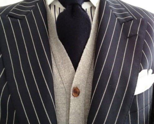 Chalk Stripe with cardigan