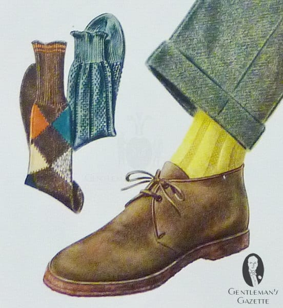 Chukka boot with rubber sole, yellow socks and green trousers