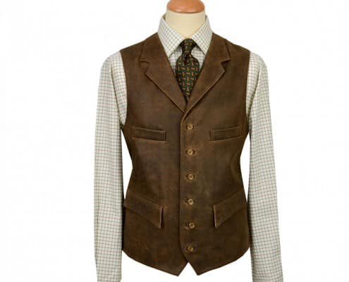 Contrasting Leather Vest by Cordings