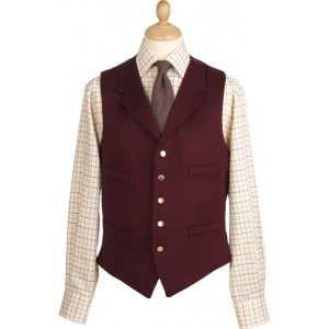 Cordings Doeskin Vest in Burgundy