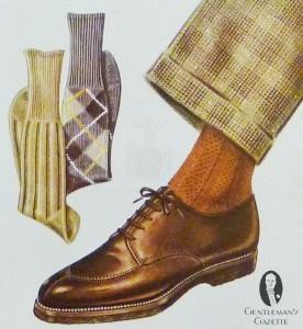 Dark brown Norwegian shoe with orange socks and patterned pants