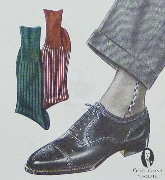 Grey suit & socks with clocks with black Oxford brogue