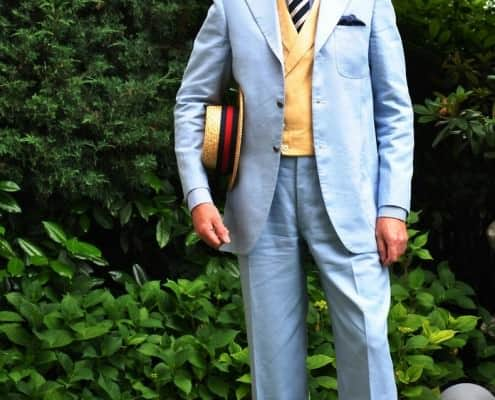 Grimod in Sky blue linen suit