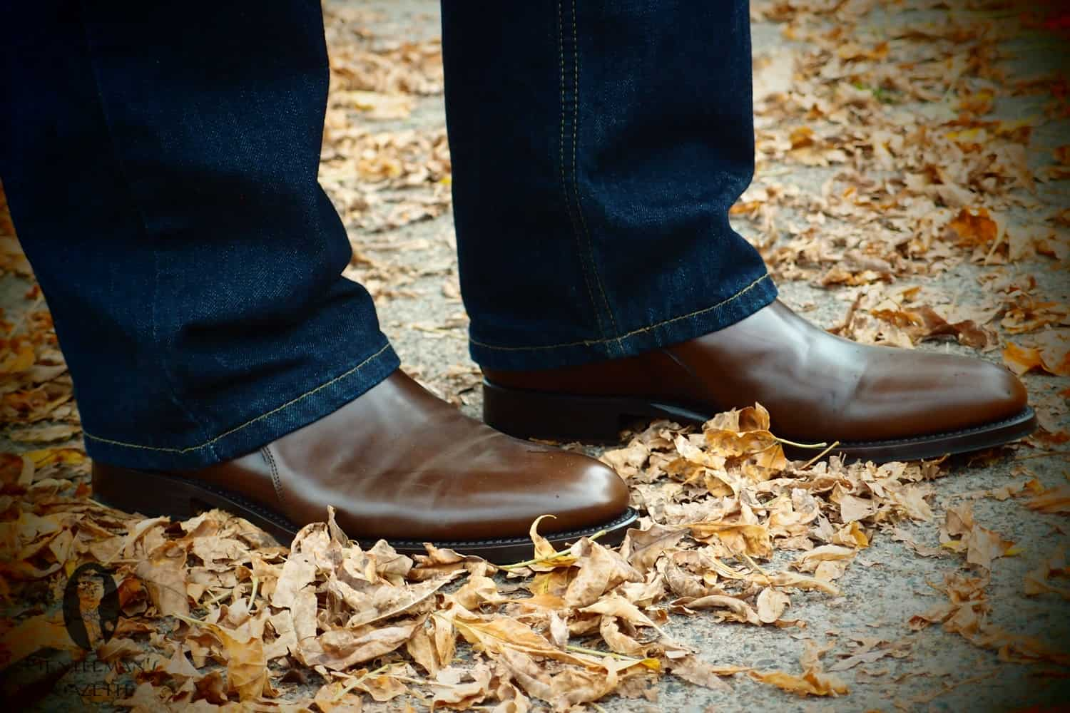 Mid brown Jodhpur boots with jeans