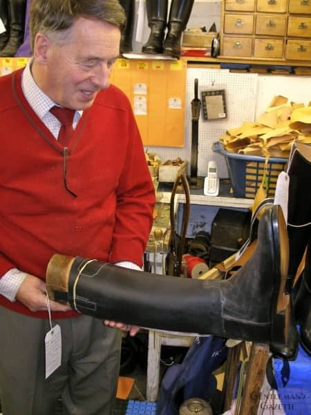 Mr Batten with a waxed hide boot. A tan cuff will be added later