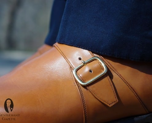 780cc1375f5e ... Navy trousers with tan monk strap shoe ...