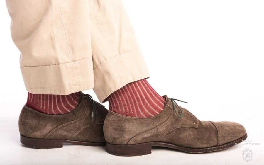 Shadow Stripe Ribbed Socks in Burgundy & light grey paired with brown suede Derby shoes