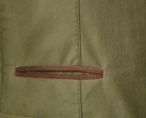 Velour leather trimmed ticket pocket