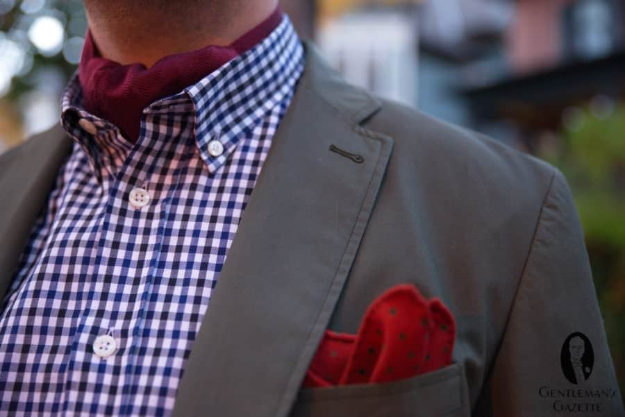 Waxed cotton jacket with wool pocket square ^ ascot