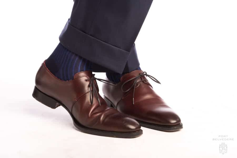 Shadow Stripe Ribbed Socks Dark Navy Blue & Royal Blue with Burgundy Derby Dress Shoe