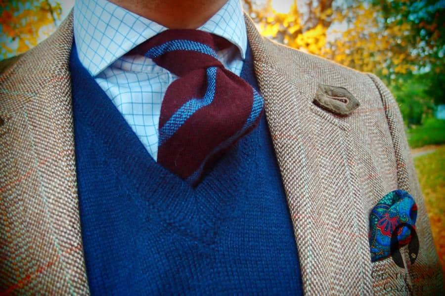 Alpaca sweater in blue with wool tie and paisley pocket square by Fort Belvedere